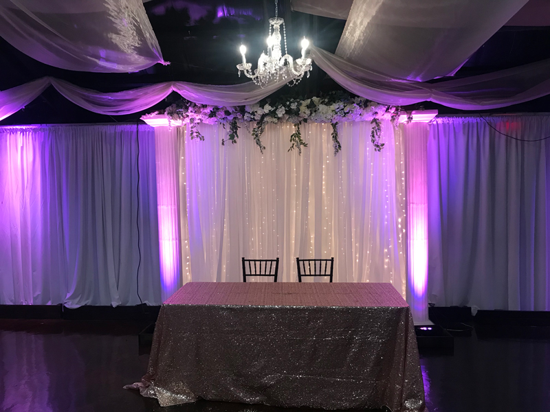Sheer Fabric, Twinkle Lights, Floral, Accent Lights & Column Background