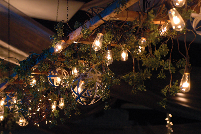Suspended Ladder decorated with vines, Edison lights and wrought iron spheres